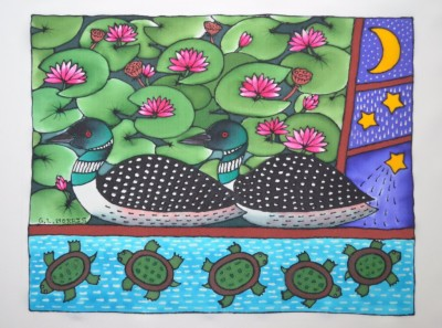 "Water Lilly Loons 16""x 20"" (Matted and Framed)"
